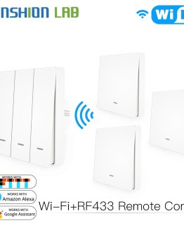 WiFi Smart Wall Light Switch RF433 Push Button Transmitter Kit Smart life Tuya Remote Control Works with Alexa Google Home