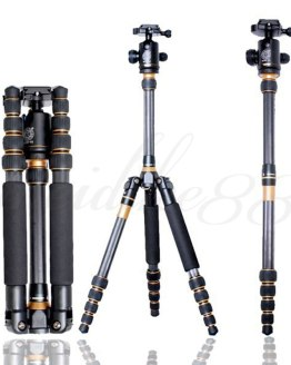 Q777C Carbon Fiber Portable Pro Photography Traveling Extension Tripod Monopod + Ball Head for DSLR Camera universal tripod