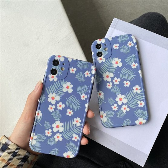 INS Small White floral Photo frame Phone Case For iPhone 11 Pro X XS Max Xr 8 7 Plus Soft IMD Silicon Back Cover Coque