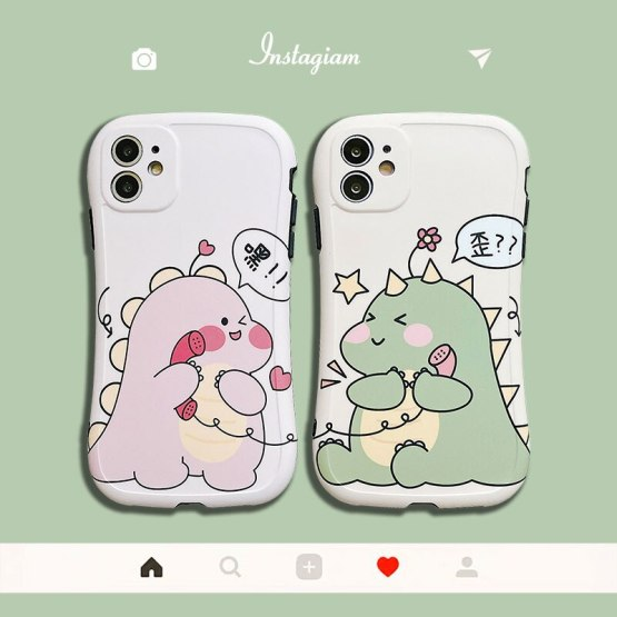 The New Cartoon Small Dinosaur Photo Frame Anti-fall Silicone Phone Case For Huawei P30 Lite P30 P40 Pro P20Lite Back Cover Capa
