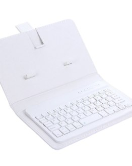 Wireless Keyboard with Protective Cover Mobile Phone Keyboard Leather Case Protective Case with Data Cable