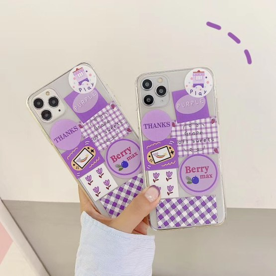 INS Korea cute purple lattice illustration small flower phone case for iPhone 11 pro MAX Xs MAX Xr X 7 8plus soft TPU back cover