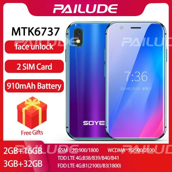 SOYES XS small mini 4G smartphone mobile phone mini android phone Unlock Dual sim Face ID Comparable iphone xs