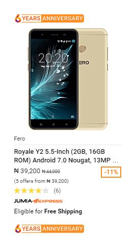 Fero Royale Y2 phonesinnigeria