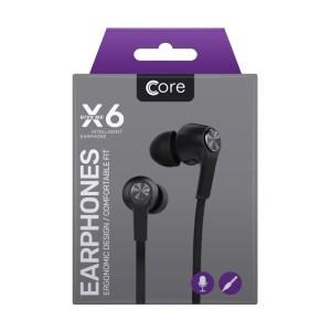 Earphones Core X6 Black Phones Rescue Bournemouth
