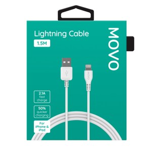 MOVO Apple Lightning Cable Fast Charge 150cm White