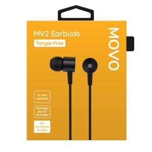 MOVO MV2 Earphones Tangle-Free Black Phones Rescue Bournemouth