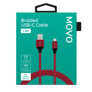 MOVO USB-C Cable Braided 150cm Fast Charge Red