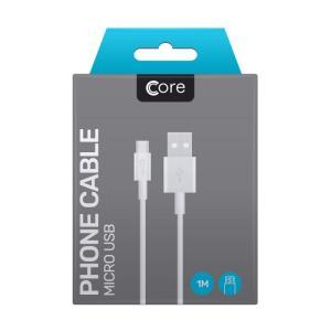 Micro USB cable Core 100cm White 1A