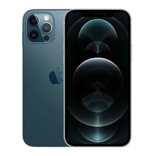 Back and front of a pacific Blue iPhone 12 Pro.