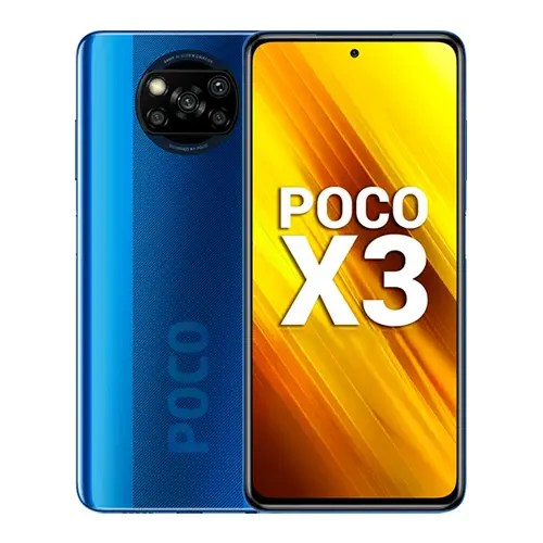 Xiaomi Poco X3 front and Blue back