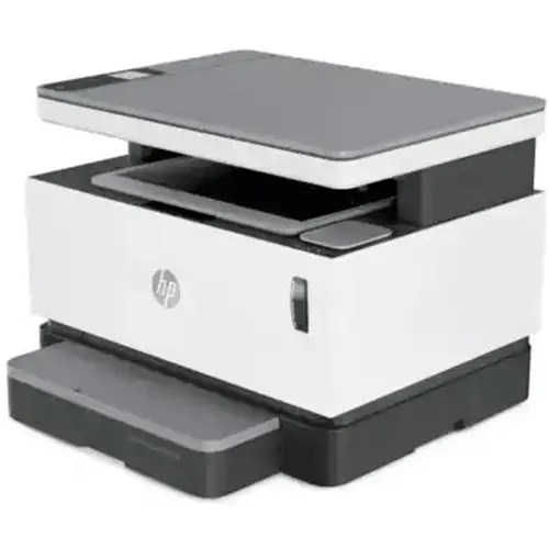 HP Neverstop Laser MFP 1200w Printer Front and Side Display