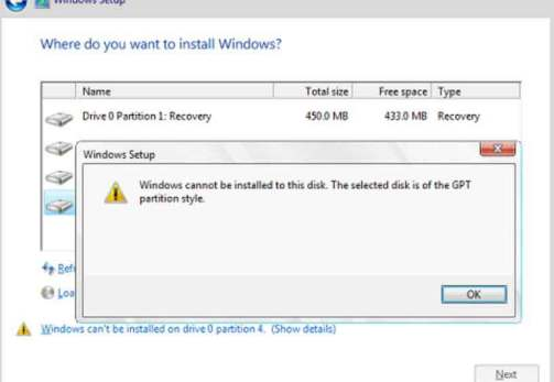Hướng dẫn sửa lỗi Windows cannot be installed to this disk, the selected disk has an mbr partition style 1