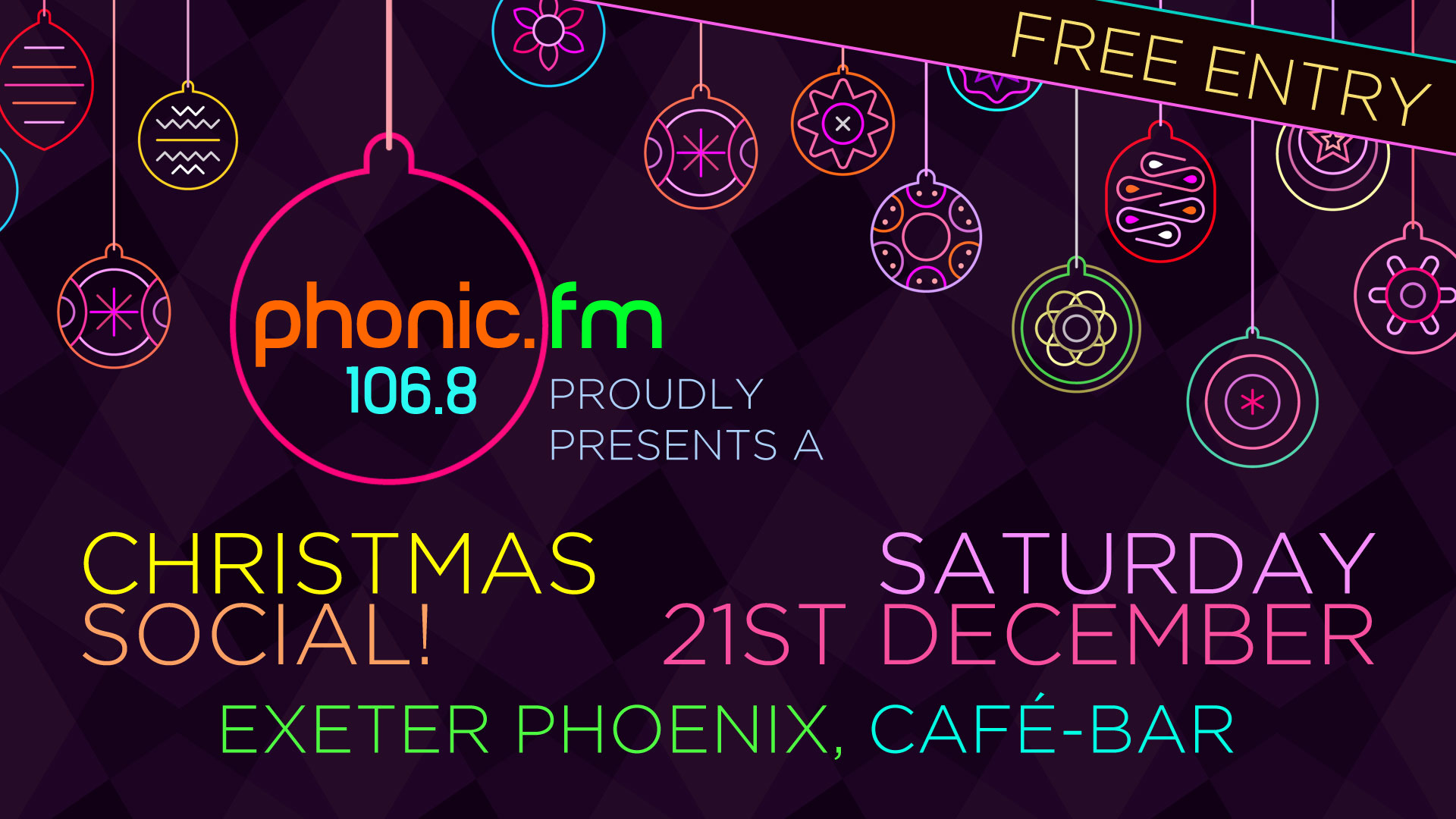 Phonic FM Free Xmas Party at Exeter Phoenix, join us in the cafe-bar on  Saturday 21 December