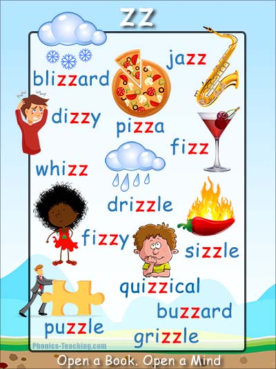 ss Words Phonics Poster - Words with zz in them - Free ...