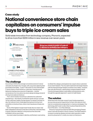 National convenxience store chain capitalizes on consumers' impulse buys to triple ice cream sales