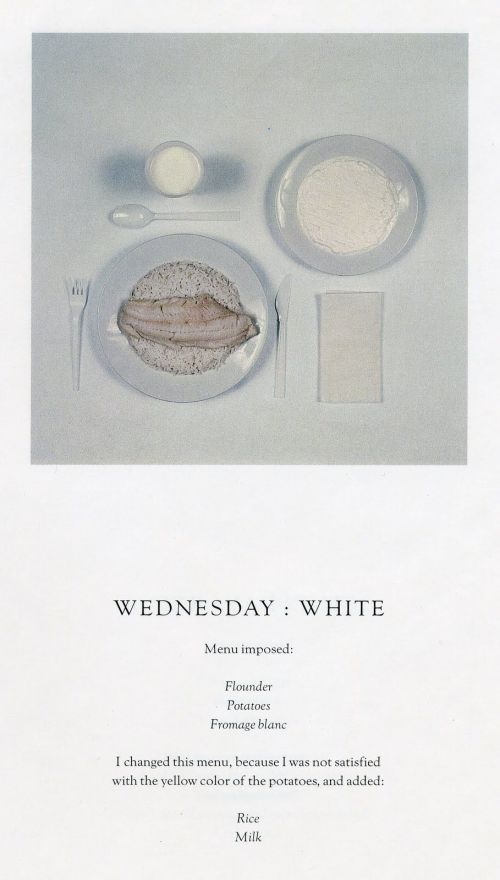"""Wednesday"" by Sophie Calle. From the series The Chromatic Diet"