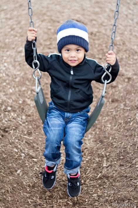Chris on the swings