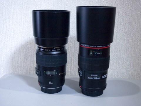 EF100mm F2.8Lマクロ IS USMとEF100mm F2.8 マクロ USMの外観比較