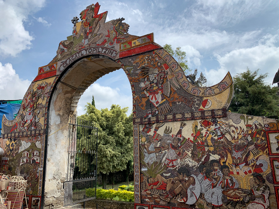 Mural on church gate, Tepoztlan, Mexico ©2019, Cyndie Burkhardt