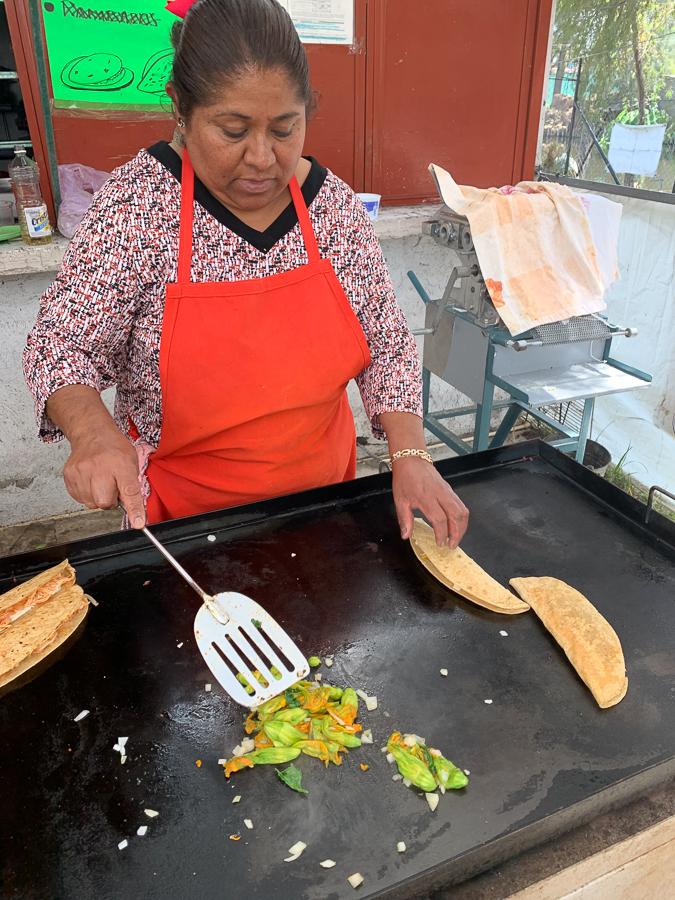 Making Quesadillas, Xochimilco, Mexico ©2019, Cyndie Burkhardt