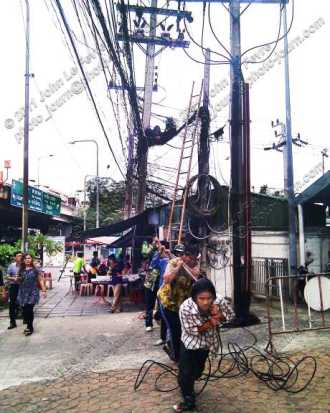 Running new telephone or data cables in Thailand.
