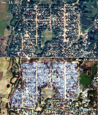 Satelite images of part of Meiktila, Myanamr showing before and after the March 2013 violence against Muslims