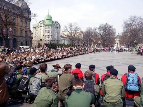 Урочистість 101 річниця першої Пластової присяги у Львові на площі перед пам'ятником Тарасу Шевченку.