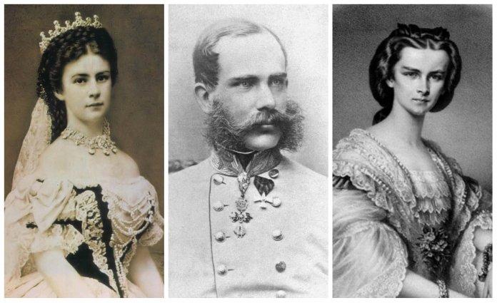 На фото, зліва направо: Єлизавета Баварська (Сісі), Франц-Йосип І, Гелена Баварська