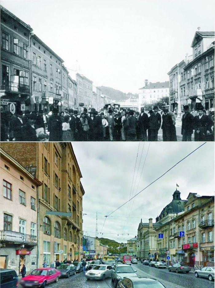 На верхньому фото Львівської Опери ще немає