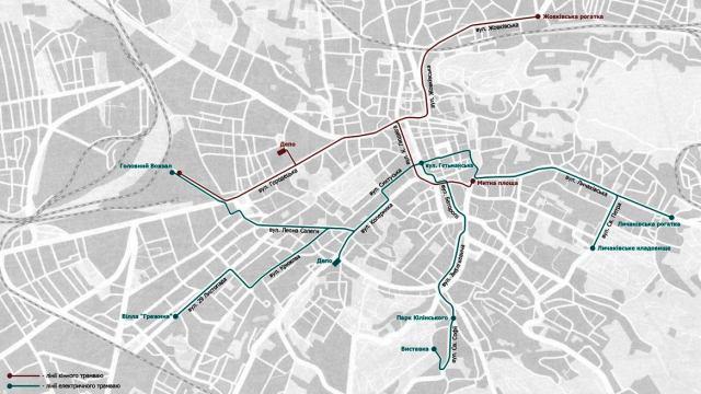 Схема руху трамваю у 1907 році