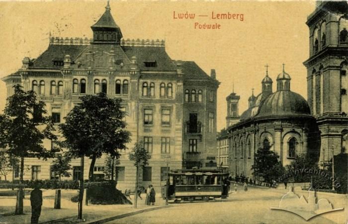 Трамвай на вул. Підвальній, 1908-1910