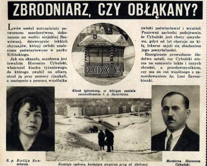 Сторінка з кримінального тижневика 1934 року, з портретами Цибульського і його жертви тамісцем злочину - тютюновим кіоском.