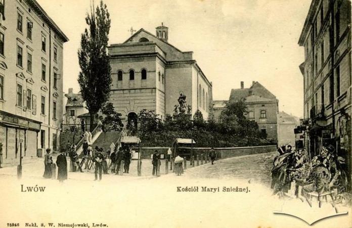 Костел Марії Сніжної поруч з яким була вежа свічкарів. Фото ХІХ ст.