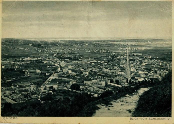 Поштівка з видом на Жовківське передмістя і нин. вул. Б. Хмельницького, 1943 рік