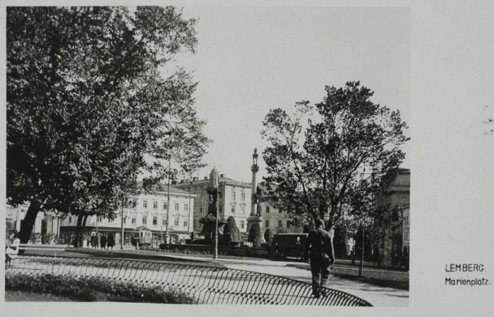 Поштівка з видом на нин. пл. Міцкевича, 1942 рік