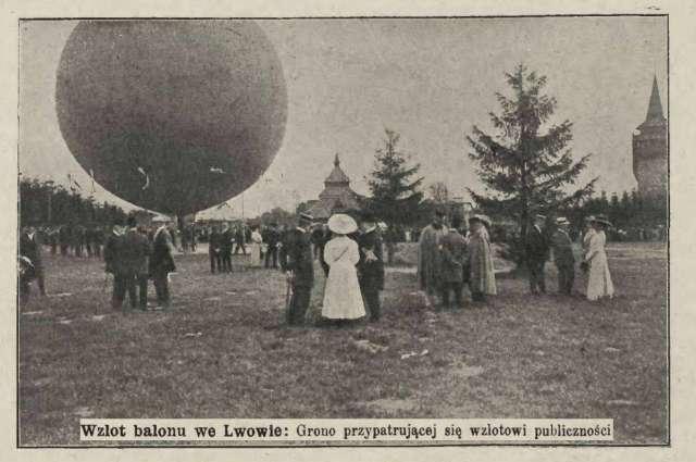 Запуск повітряної кулі у Львові, тер. нин. Стрийського парку, фото 1910 року