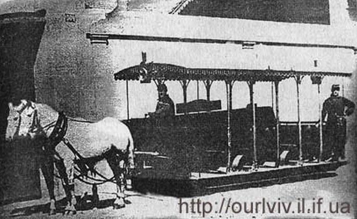 Літній вагон кінного трамваю, фото, кінець XIX ст.