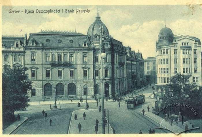 Галицька ощадна каса на поштівці 1914 року