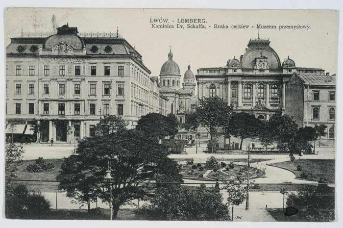 Фрагмент нин. пр-ту Свободи із памятником Станіславу Яблоновському. Поштівка до 1914 року