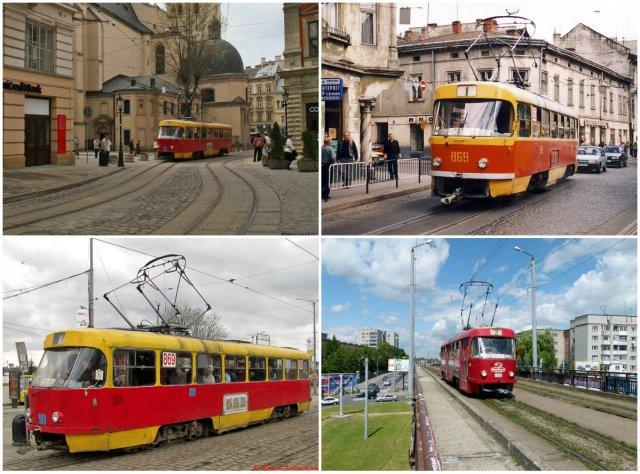 """Трамваї серії """"Tatra KT4SU"""" на вулицях Львова."""