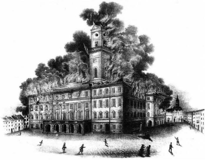 Ратуша під час пожежі 1848 року.