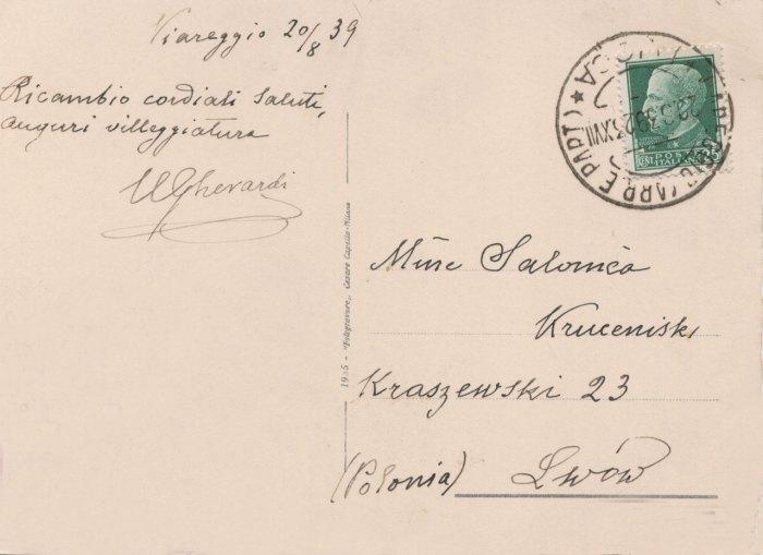 Поштова картка (ймовірно остання!) з Віареджо від У. Ґерарді  до С.Крушельницької. 20 серпня 1939 р.