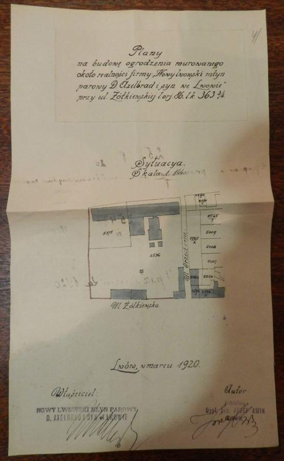 План будови огорожі 1920 року.