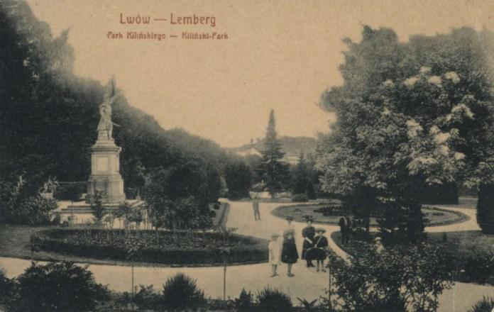 Парк та монумент Янові Кілінському на поштівці початку XX сторіччя