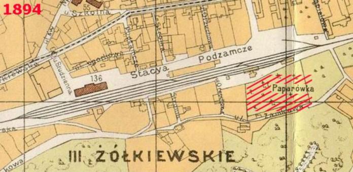 """Фрагмент карти 1894 року, позначено станцію """"Підзамче"""", що розташувалась на північній частині Папарівського цвинтаря"""