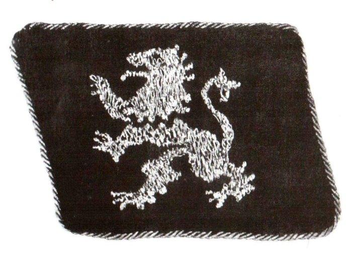 Відзнака для вояків Дивізії на рукав (срібний лев на чорному тлі)