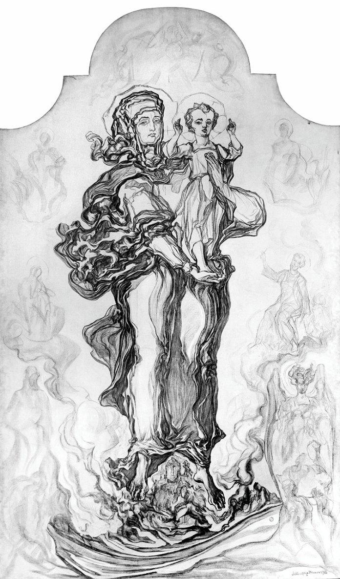 Новаківський Олекса. «Мати Милосердя/Святоюрська Мадонна». 1935 р. Полотно, вугіль.