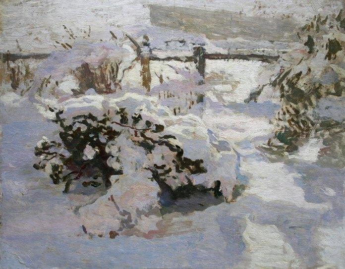 Іван Труш «В обіймах снігу». Картон, олія. НМЛ ім.А.Шептицького.