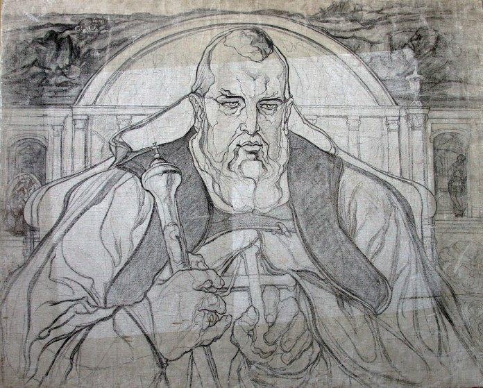 Портрет Митрополита Андрея Шептицького (До композиції «Тяжкий сон»), 1920 р